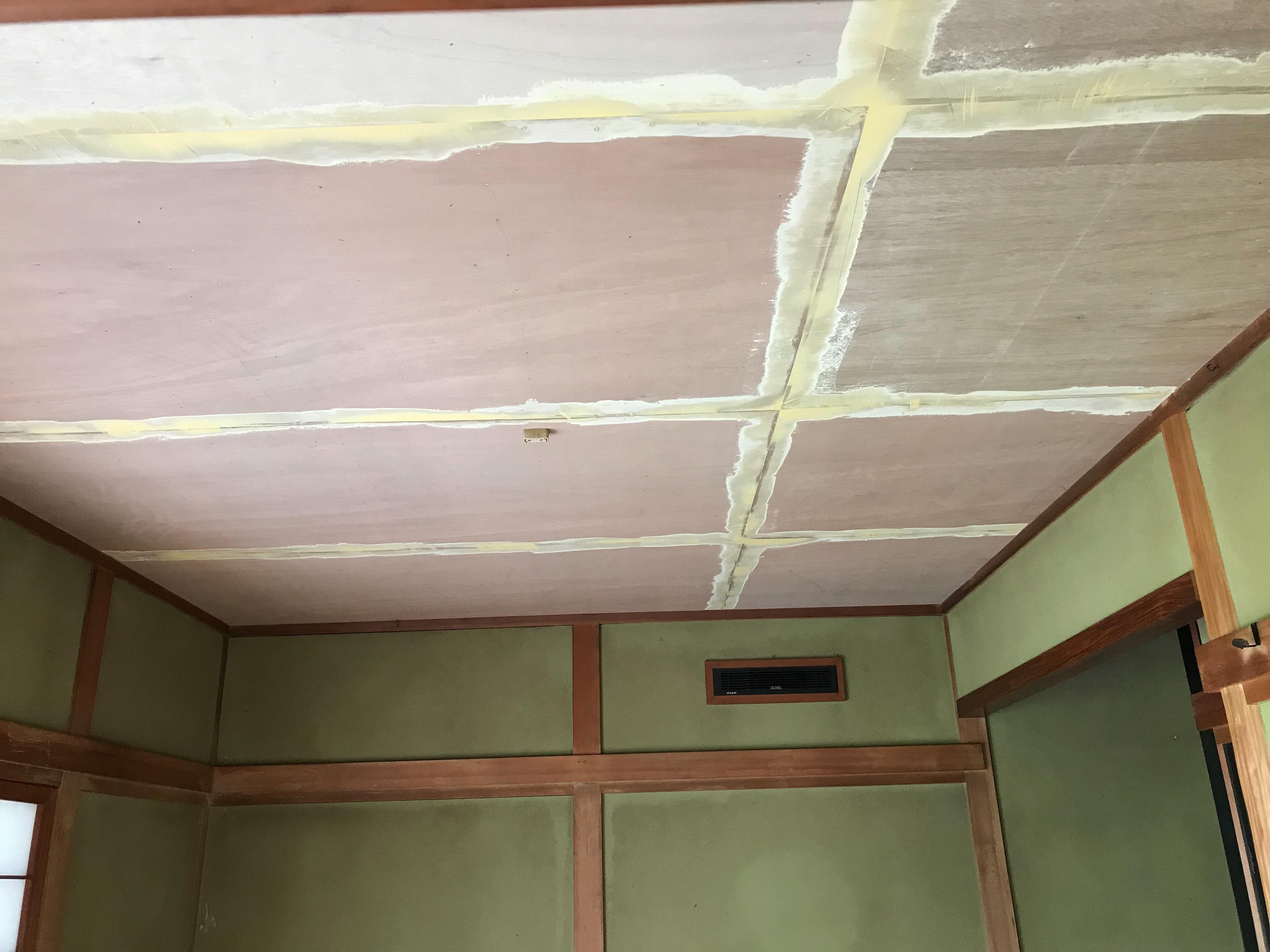 内装工事 和室天井 クロス仕上げ 雨漏り内装修理 やねやねやね